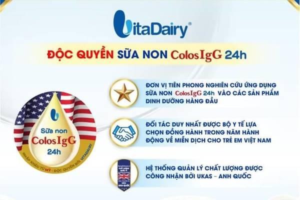 Công nghệ sữa non COLOSIgG 24h độc quyền từ VitaDairy
